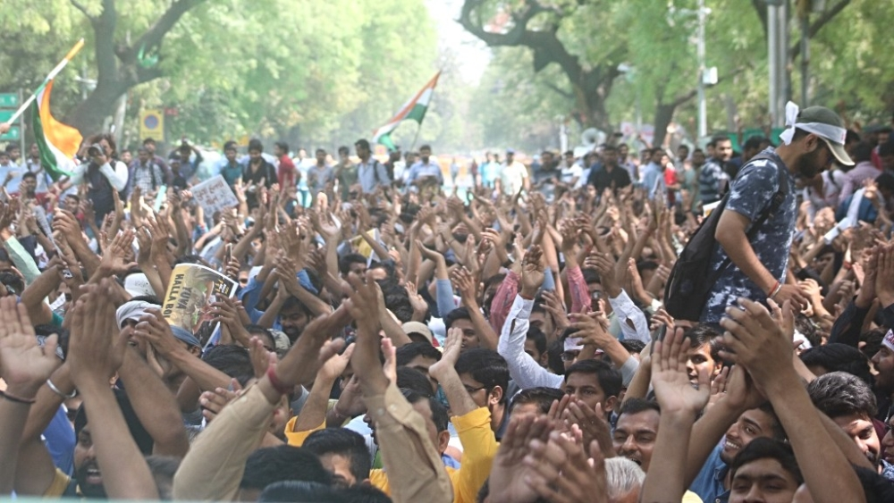 Job aspirants stage a demonstration against alleged SSC exam paper leak, at Jantar Mantar in New Delhi (file photo)