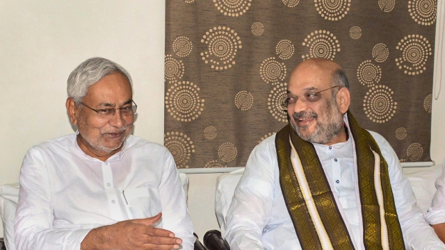 Bihar CM Nitish Kumar (left) with BJP President Amit Shah in Patna