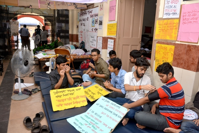Medical students go on a hunger strike to press for their various demands at Medical College and Hospital, in Kolkata.