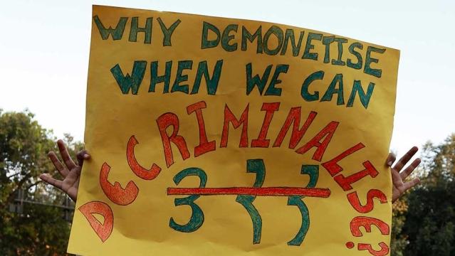 A banner asking for decriminalisation of same sex relations under Section 377, at a Queer Pride march in Delhi on November 27, shortly  after the demonetisation decision. Representative image