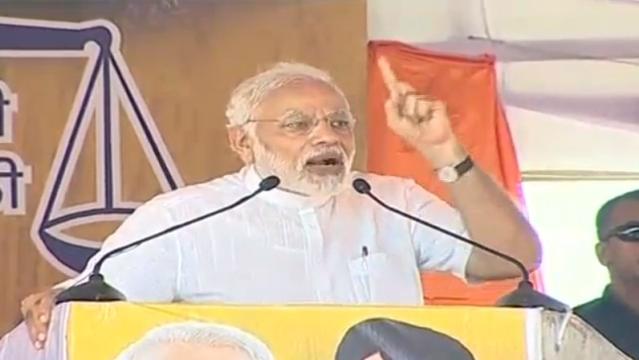 PM Modi addressing the rally in Chandigarh