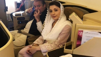 Former Pakistan Prime Minister Nawaz Sharif and his daughter Maryam Nawaz in transit enroute Lahore from London