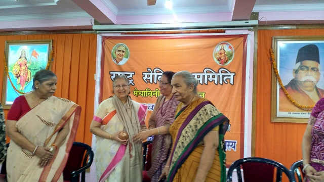 Lok Sabha speaker Sumitra Mahajan being felicitated at the Sevika Samiti's event in New Delhi on Friday