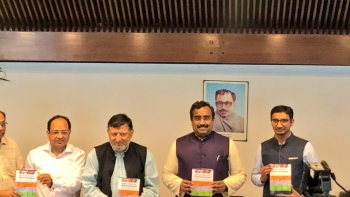 BJP's General Secretary Ram Madhav (second from right) at a book launch function in New Delhi on Wednesday