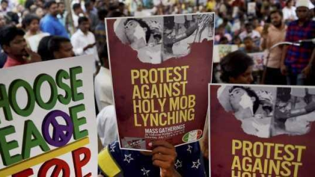 Representational image of a protest against growing incidents of mob lynchings