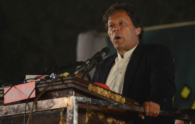 Imran Khan leader of political party Pakistan Tehreek-e-Insaf addressing a rally (file photo)