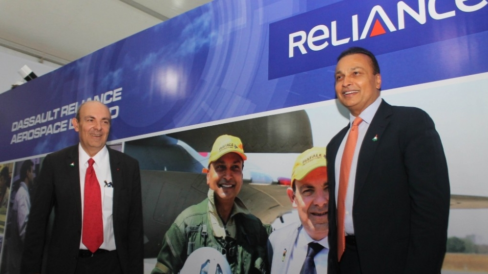 Dassault Aviation, France Chairman Eric Trappier and Reliance Group Chairman Anil Ambani at the ₹6,500 crore-Dassault Reliance Aerospace Limited manufacturing facility that will manufacture components of the offset obligation linked to the purchase of 36 Rafale jets from France; at the Mihan SEZ in Maharashtra on October 27, 2017