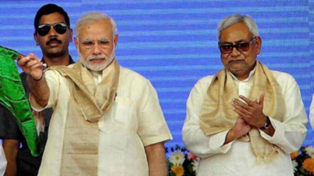 Prime Minister Narendra Modi (left) with Bihar Chief Minister Nitish Kumar (file photo)