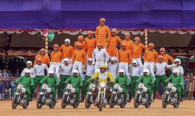 'Tornadoes', the motorcycle display team of Army Service Corps, perform during a rehearsal for the 72nd Independence Day function, at the Parade Ground in Bengaluru.