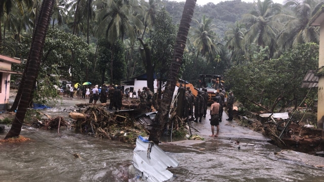 Security personnel carry out rescue operation in flood affected areas in Idukki, Kerala.