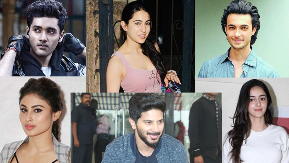 (clock wise) Mouni Roy, Utkarsh Sharma, Sara Ali Khan, Aayush Sharma, Ananya Pandey and Dulquer Salman