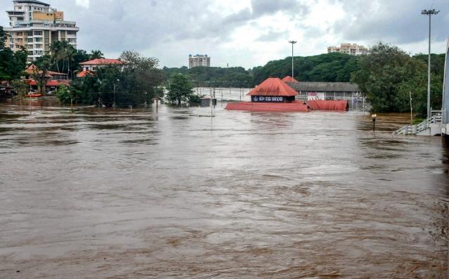 Aluva Mahadeva Temple is seen submerged in the water following a flash flood, triggered by heavy rains, near Kochi in Kerala on Thursday