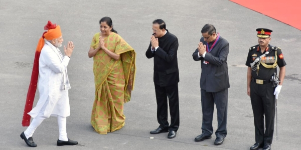 Prime Minister Narendra Modi (left) with Defence Minister Nirmala Sitharaman (second from left) and other dignitaries at Red Fort, Delhi on Independence Day, August 15, 2018