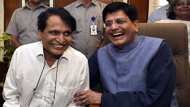 The Railways Ministry funded as many as 1,023 air trips by private airlines for Piyush Goyal (right), his fellow ministers Rajen Gohain and Manoj Sinha and his predecessor Suresh Prabhu (left), ministers' relatives, attendants, companions and their personal staff, from 2016 till date, found a Newslaundry report