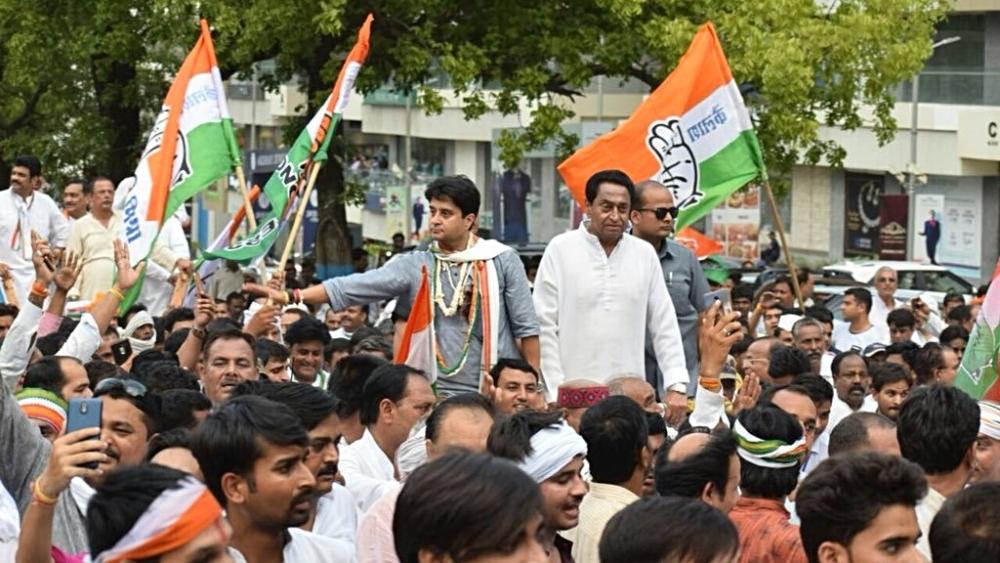 Madhya Pradesh Congress leaders Kamal Nath and Jyotiraditya Scindia