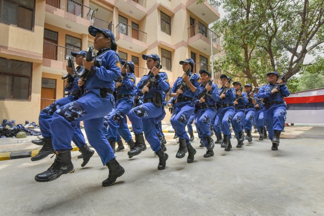 Members of first all-women SWAT team perform during a programme for their launch, and inauguration of newly constructed building of DCP South West District office, Police Station Delhi Cantt. & Delhi Police Residential Complex, in New Delhi.