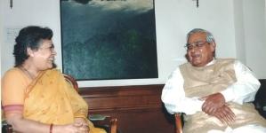 Mrinal Pande, group senior editorial advisor of National Herald with the former Prime Minister Atal Bihari Vajpayee