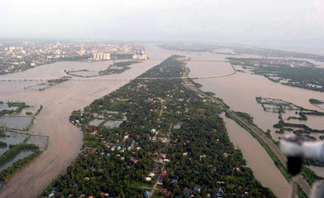 Aerial view of the flooded Aluva, Kerala.