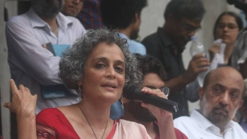 Author Arundhati Roy along with other activists at a press conference in New Delhi