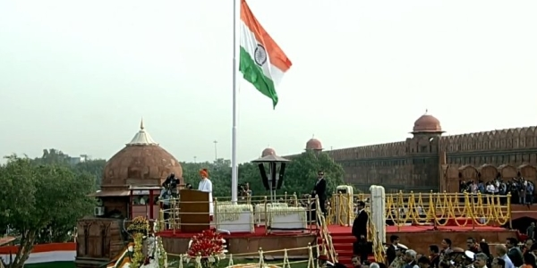 Prime Minister Narendra Modi during his Independence Day speech from the Red Fort in Delhi on August 15