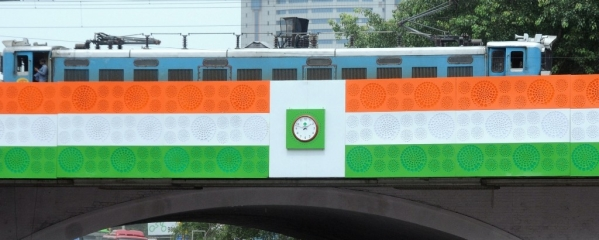 New Delhi's famous Minto Bridge on August 13, 2018, decorated with the Indian Tri-Colour ahead of Independence Day celebrations