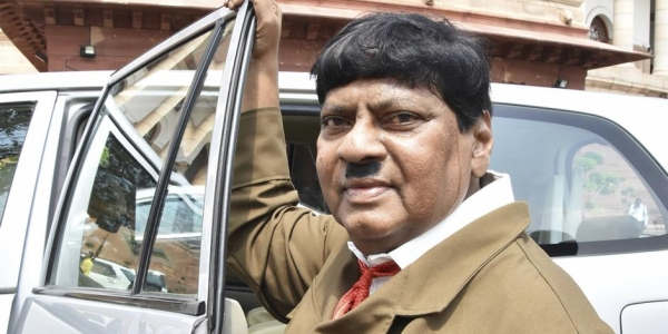 TDP MP and former actor Naramalli Sivaprasad dressed up as Adolf Hitler at Parliament on Thursday, August 9