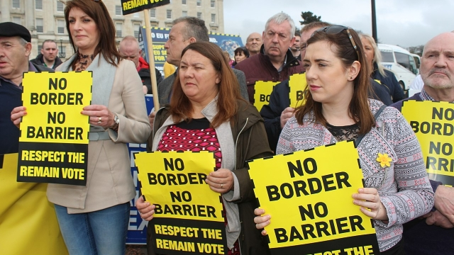 "A <a href=""https://en.wikipedia.org/wiki/Sinn_F%C3%A9in"">Sinn Féin</a> protest against a hard border. Post-Brexit border controls are a controversial issue"
