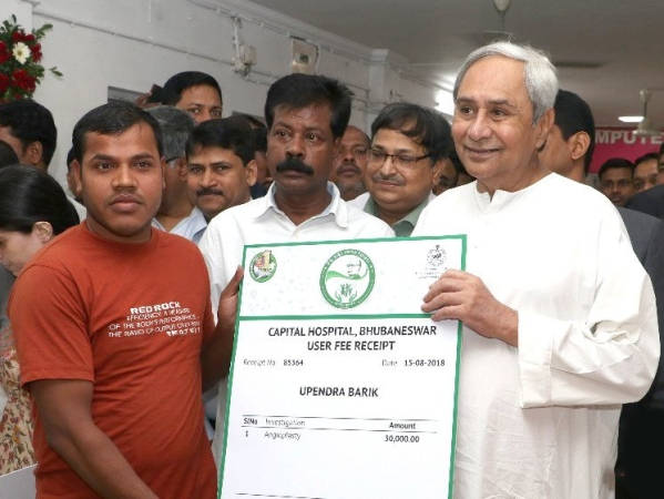 Odisha Chief Minister Naveen Patnaik announcing the Biju Swasthya Kalyan Yojana  universal health scheme in Bhubaneswar on Independence Day, August 15, 2018