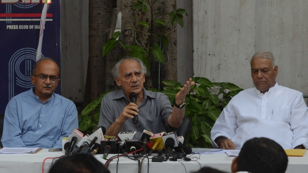 (from left to right) Lawyer, activist Prashant Bhushan, former Union ministers Arun Shouri and Yashwant Sinha addressing a press conference in New Delhi on the Rafale defence scam