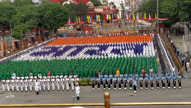 Indian Navy and Indian Air Force contingents take part during the first full dress rehearsal for the Independence Day celebrations 2018 at Red Fort in New Delhi.