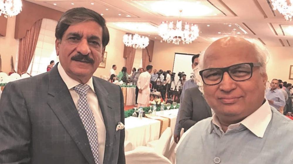 "Sudheendra Kulkarni with Lt Gen (Rtd) Nisar Khan Janjua, Pakistan's former security advisor.""I have high regard for Ajit Doval Sahab,"" Janjua told Kulkarni"