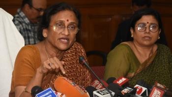 Uttar Pradesh Women and Child Welfare Minister Rita Bahuguna Joshi addresses a press conference regarding Deoria shelter home rapes, in Lucknow, on August 6