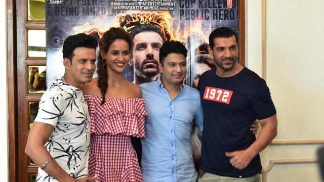 (From left to right) Manoj Bajpayee, Aisha Sharma, Bhushan Kumar and John Abraham