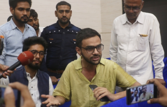 Jawaharlal Nehru University scholar Umar Khalid addresses a press conference in New Delhi on Aug 13