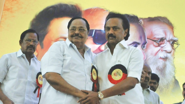 DMK's new president MK Stalin (right) at a party function