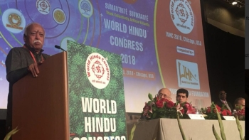 RSS chief Mohan Bhagwat at the World Hindu Congress in Chicago