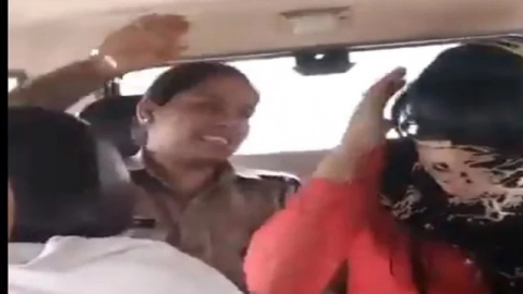 Watch: Girl student thrashed by police  for dating Muslim; 3 cops suspended