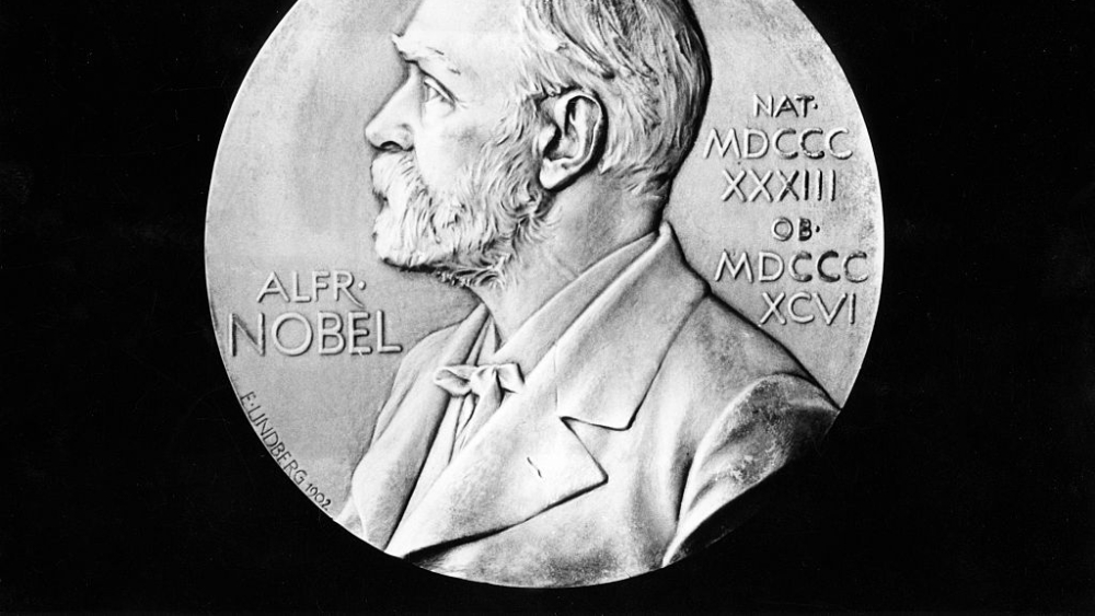 Nobel Prize in Literature, front side of the medal with the portrait of donor Alfred Nobel