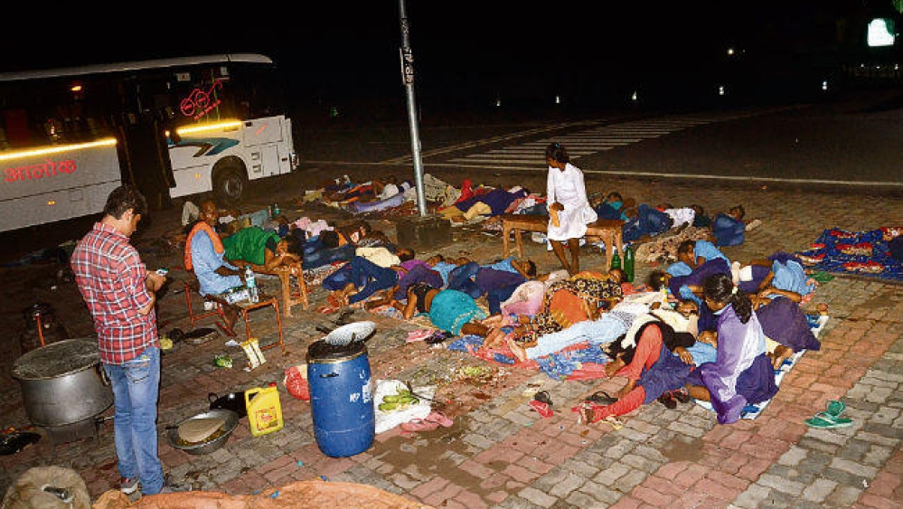 Government school students sleeping on the road along with school authorities