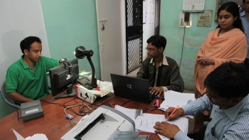 People being enrolled for obtaining 12-digit unique Aadhaar ID (file photo)