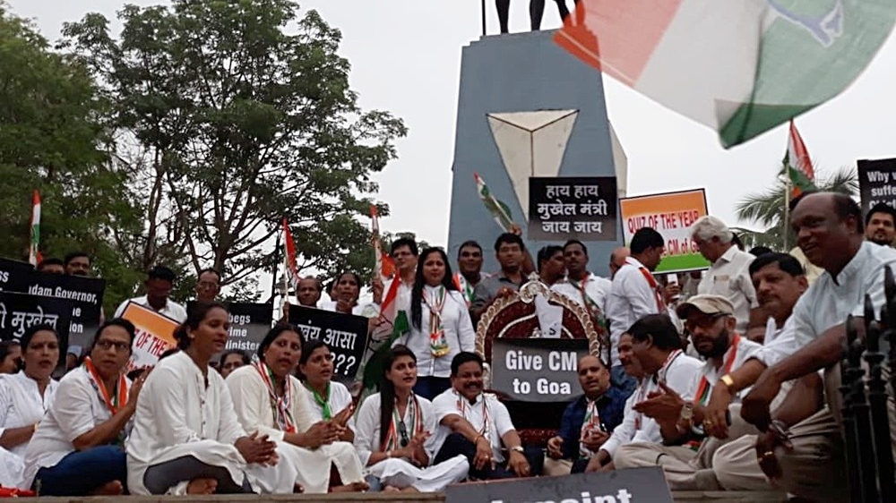 Goa Congress protests in Old Goa demanding a full-time CM for the state (file photo)