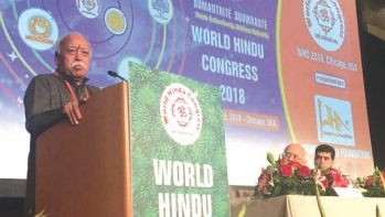 RSS supremo Mohan Bhagwat addressing the World Hindu Congress in Chicago