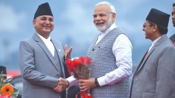 Nepal's Defence Minister Ishowor Pokhrel welcomes Prime Minister Narendra Modi for BIMSTEC 2018 in Kathmandu