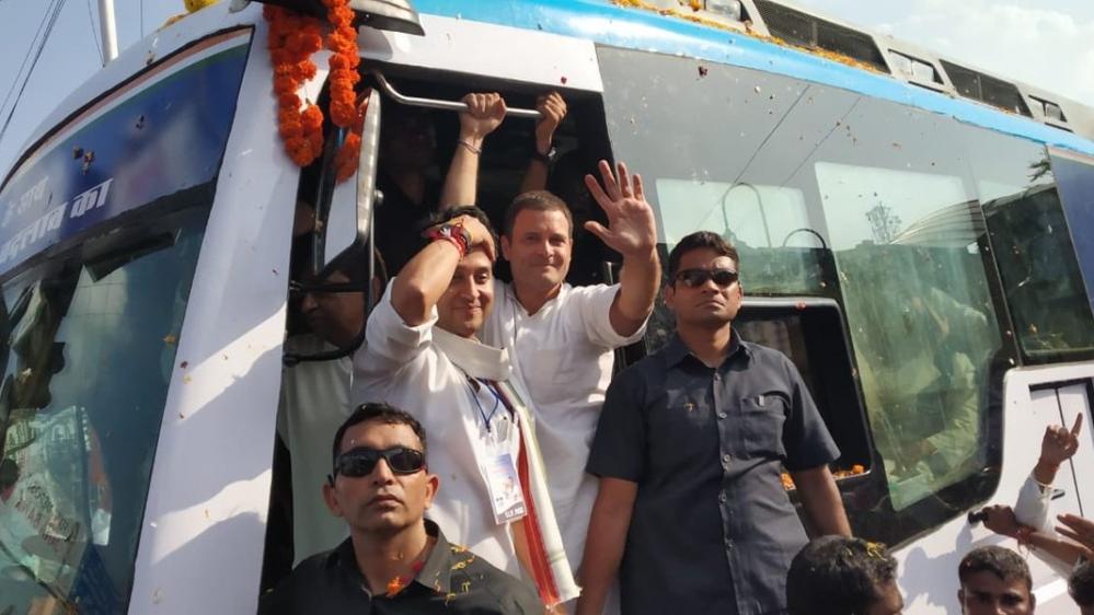 Congress President Rahul Gandhi with Congress leader and Guna MP Jyotiraditya Scindia during a roadshow in Bhopal, Madhya Pradesh on September 17