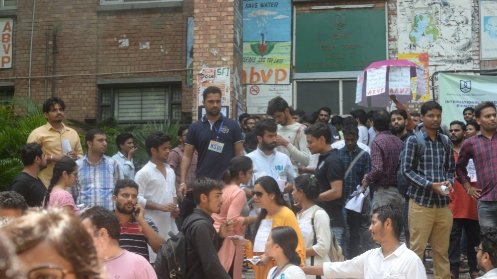 Students of various organisations campaign in support of their candidates during Jawaharlal Nehru University (JNU) Students' Union elections in New Delhi on September 14, 2018