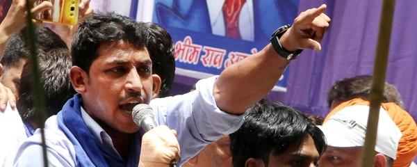 File photo of Bhim Army leader Chandrashekhar Azad Ravan addressing a Dalit rally at Jantar Mantar in New Delhi