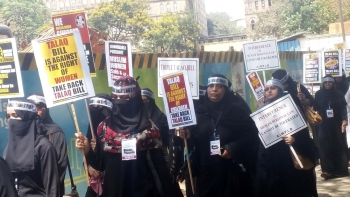 A protest rally against the Triple Talaq Bill, in Mumbai on March 31, 2018