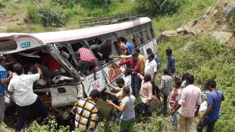 Telangana: 45 killed as bus falls into gorge