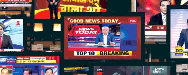 TV screengrabs of various English and Hindi news channels