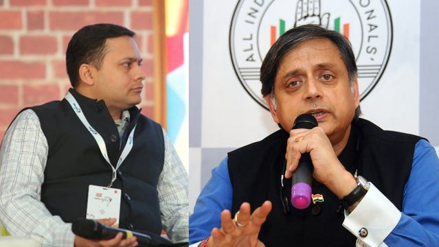 Congress MP Shashi Tharoor (right) used an old tweet by BJP IT cell chief Amit Malviya to point to the hypocrisy of BJP-RSS tributes to Mahatma Gandhi